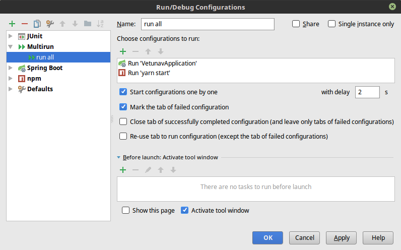 Multirun configuration